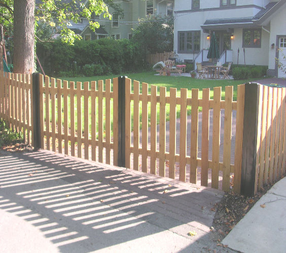 picket fence driveway gate fence ideas pinterest. Black Bedroom Furniture Sets. Home Design Ideas